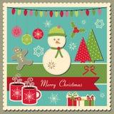 Kerstkaart met sneeuwman Royalty-vrije Stock Afbeelding
