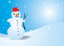 Kerstkaart met sneeuwman Stock Afbeeldingen
