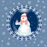 Kerstkaart met sneeuwman Royalty-vrije Stock Afbeeldingen