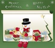 Kerstkaart met sneeuwman en gift Stock Afbeeldingen