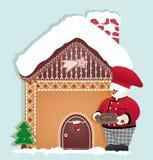 Kerstkaart met sneeuwman het koken Royalty-vrije Stock Foto's