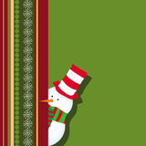 Kerstkaart met sneeuwman het verbergen Stock Fotografie
