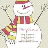 Kerstkaart met Sneeuwman. Vector illustratie Royalty-vrije Stock Afbeeldingen
