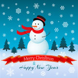 Kerstkaart met sneeuwman Vector illustratie Royalty-vrije Stock Afbeeldingen