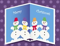 Kerstkaart met sneeuwmannen Royalty-vrije Stock Foto's
