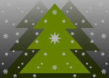 Kerstkaart met sneeuwvlokken Stock Foto's