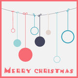 Kerstkaart met snuisterijen Stock Fotografie