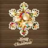 Kerstkaart met snuisterijen Eps 10 Royalty-vrije Stock Afbeelding
