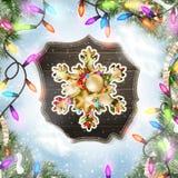 Kerstkaart met snuisterijen Eps 10 Stock Afbeeldingen