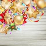Kerstkaart met snuisterijen Eps 10 Stock Foto