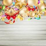 Kerstkaart met snuisterijen Eps 10 Stock Fotografie