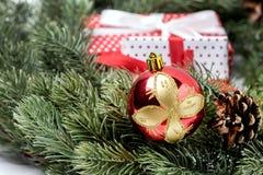 Kerstkaart met Spar en Decor het Vakje van de van het Achtergrond Kerstmisnieuwjaar Kerstmisgift Exemplaarruimte stock foto's
