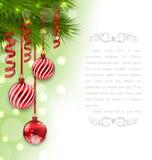 Kerstkaart met Spartakken en Glasballen Stock Foto's
