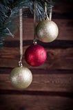Kerstkaart met stuk speelgoed drie Royalty-vrije Stock Afbeeldingen