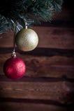 Kerstkaart met stuk speelgoed twee Stock Foto