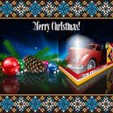 Kerstkaart met tekst vrolijke Kerstmis stock illustratie