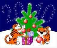 Kerstkaart met tijgers. vector illustratie