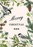 Kerstkaart met twee vogels stock illustratie