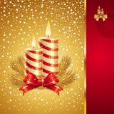 Kerstkaart met vakantiekaarsen Stock Foto