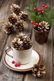 Kerstkaart met vakantiesamenstelling Stock Foto