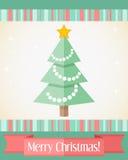 Kerstkaart met verfraaide spar Stock Afbeelding