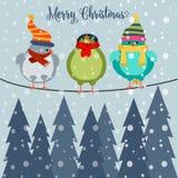 Kerstkaart met vogels op draad vector illustratie
