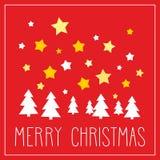 Kerstkaart met Vrolijke Kerstmiswensen Stock Afbeelding