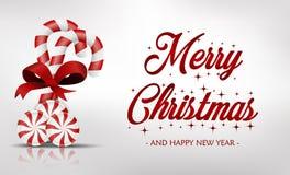 Kerstkaart met zoet suikergoed Royalty-vrije Stock Foto's