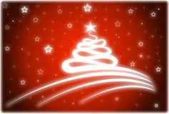 Kerstkaart in rode kleur Stock Fotografie