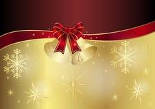 Kerstkaart in rood en gouden Stock Fotografie