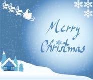 Kerstkaart: santa en sneeuw Royalty-vrije Stock Foto