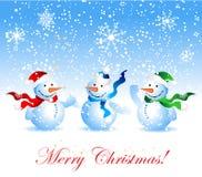 Kerstkaart, sneeuwman stock illustratie