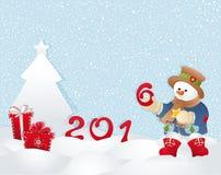 Kerstkaart, sneeuwman en boom Royalty-vrije Stock Afbeelding
