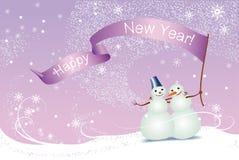 Kerstkaart, sneeuwmannen stock illustratie