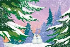 Kerstkaart, sneeuwmannen, bos vector illustratie