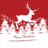 Kerstkaart of uitnodiging met een hert Stock Afbeelding
