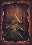 Kerstkaart - Uitstekende Kerstboom in houten kader Stock Fotografie