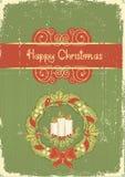 Kerstkaart. Uitstekende rode groene achtergrond Royalty-vrije Stock Foto's
