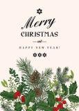 Kerstkaart in uitstekende stijl royalty-vrije illustratie