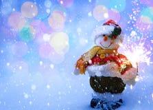 Kerstkaart van de kunst de grappige Sneeuwman Royalty-vrije Stock Afbeelding