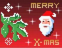 Kerstkaart van de pixel Stock Foto