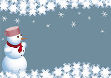 Kerstkaart van de sneeuwman Royalty-vrije Stock Foto's