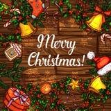 Kerstkaart van hulstkroon op houten achtergrond Royalty-vrije Stock Afbeelding