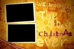 Kerstkaart van twee de oude fotokaders Royalty-vrije Stock Afbeeldingen
