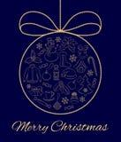 Kerstkaart of verticale banner De elementen en de symbolen van de overzichtswinter in de vorm van een bal met een boog worden gev Stock Afbeelding