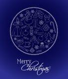 Kerstkaart of verticale banner Traditionele die de winterelementen en symbolen in de vorm van een cirkel worden gevestigd De teke Stock Afbeelding