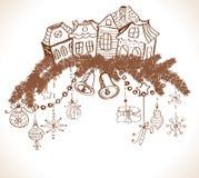 Kerstkaart voor Kerstmisontwerp met huizen Stock Fotografie