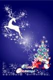 Kerstkaartachtergrond, elementen van het rendier de vliegende ontwerp - illustratie eps10 Stock Afbeeldingen