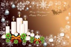 Kerstkaartachtergrond met kaars lichte avond - vetor eps10 Stock Fotografie