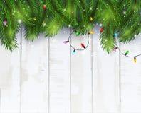 Kerstkaartachtergrond met spartakken en denneappels Stock Afbeelding
